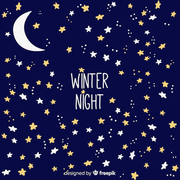 Winter night background Free Vector