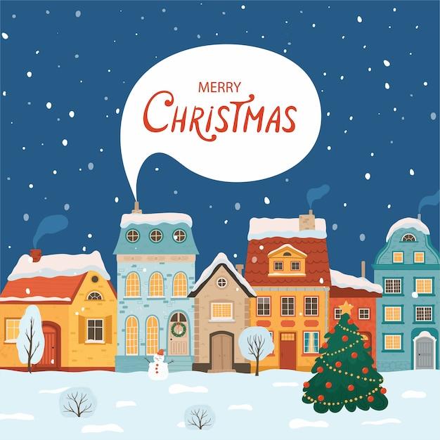 レトロなスタイルの冬の夜の街。家とのクリスマス。グリーティングカードのための居心地の良い町。 Premiumベクター
