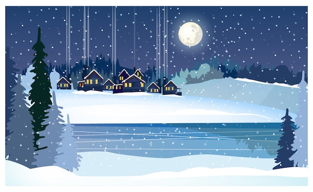 Winter night landscape with frozen river, fir-trees and cottages Free Vector