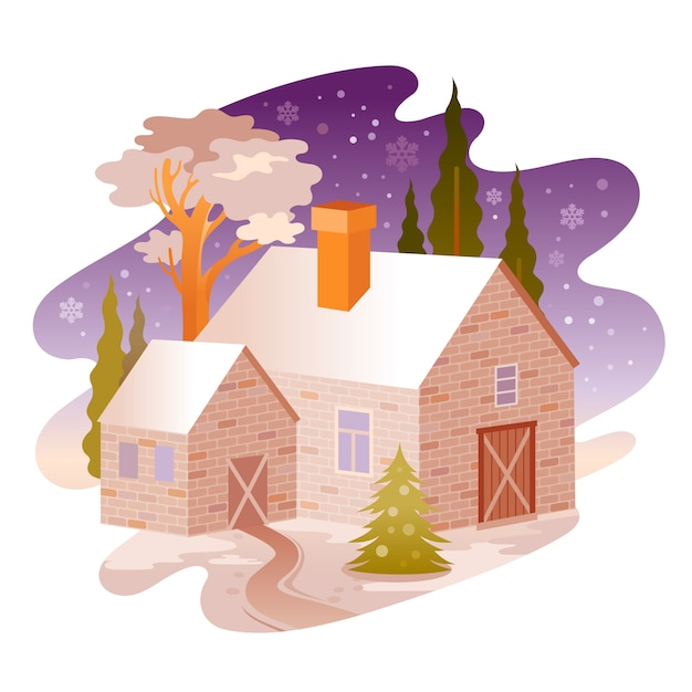 Winter night rural house landscape. Premium Vector
