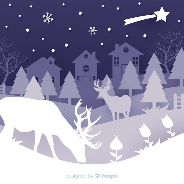 Winter night silhouettes background Free Vector
