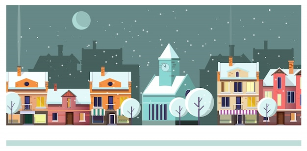Winter night townscape with houses and moon illustration Free Vector