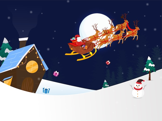 Зимний ночной фон с санта-клаусом на оленьих упряжках Premium векторы