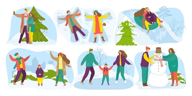 冬の野外活動、雪の季節の休日、休暇が設定されています。雪だるまを作る子供たち、雪の日の屋外での冬の楽しみ、そり、クリスマスのモミの木の装飾。 Premiumベクター