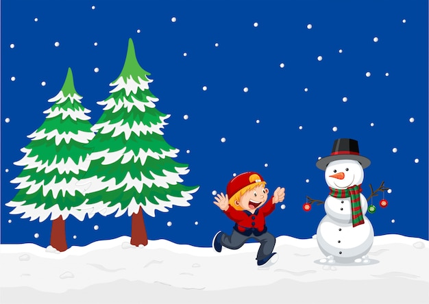 A winter outdoor landscape background Free Vector