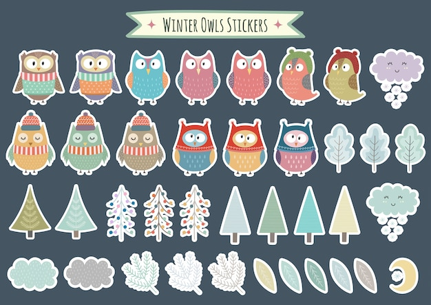 Winter owls stickers collection. christmas decorative elements, trees, brunches, leaves. vector illustration Premium Vector