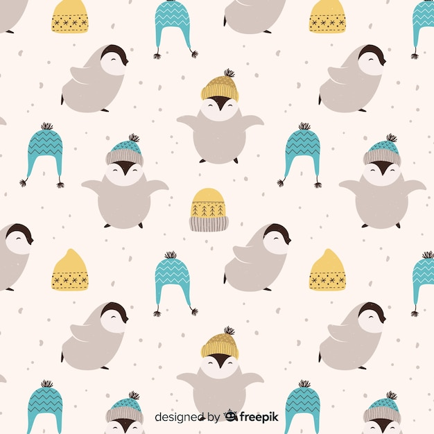Winter pattern background Free Vector
