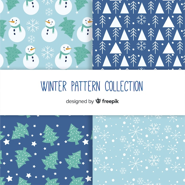 Winter pattern collection Free Vector