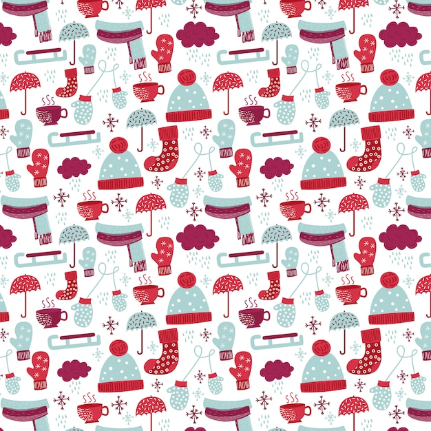 Winter pattern with socks Free Vector
