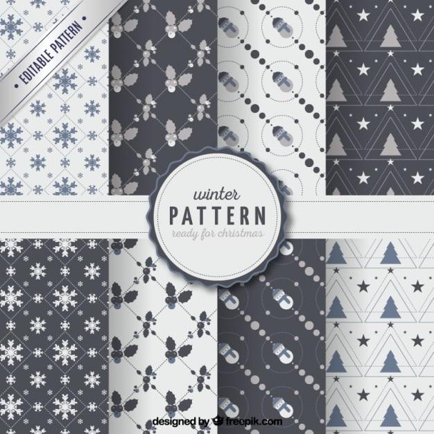 Winter patterns collection Premium Vector