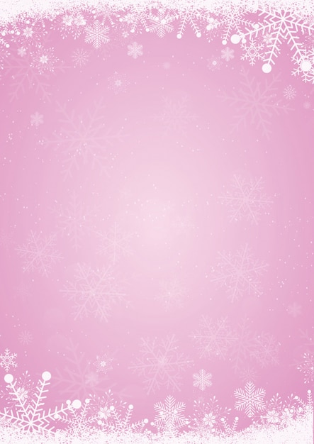 winter pink christmas background with the snow and