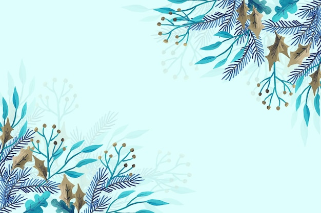 Winter plants made with watercolors Premium Vector