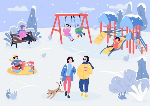 訪問者と冬のプレイパークフラットカラーイラスト Premiumベクター