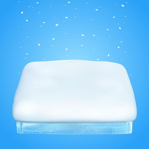 Зимний подиум. квадратный кусок снега. Premium векторы