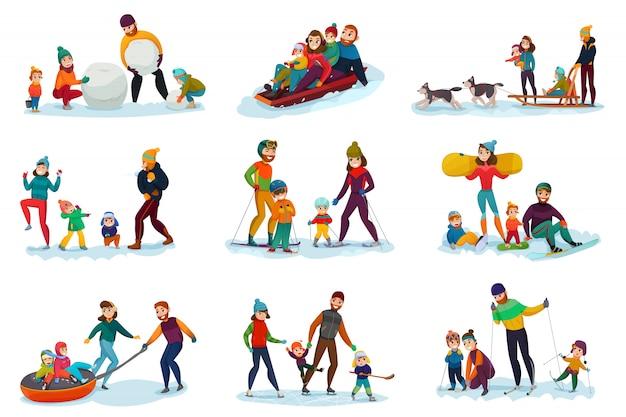 Зимний отдых Бесплатные векторы