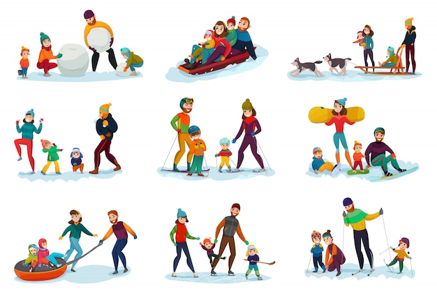 Winter recreation set Free Vector