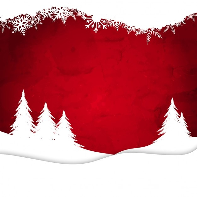 Winter, red background Free Vector