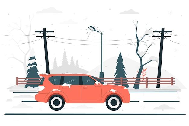 Illustrazione di concetto di strada invernale Vettore gratuito