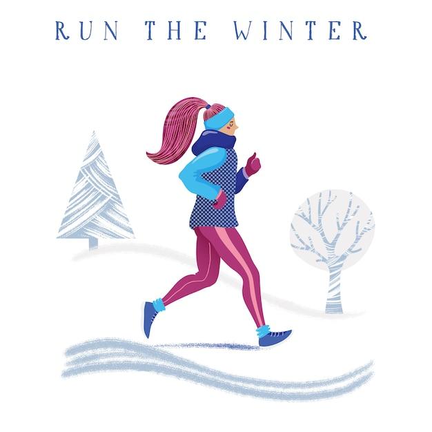 Winter running concept Premium Vector