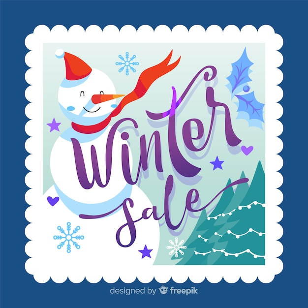 Winter sale ackground Free Vector