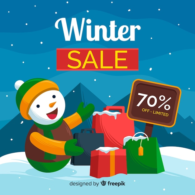 Winter sale ackground Free Vector
