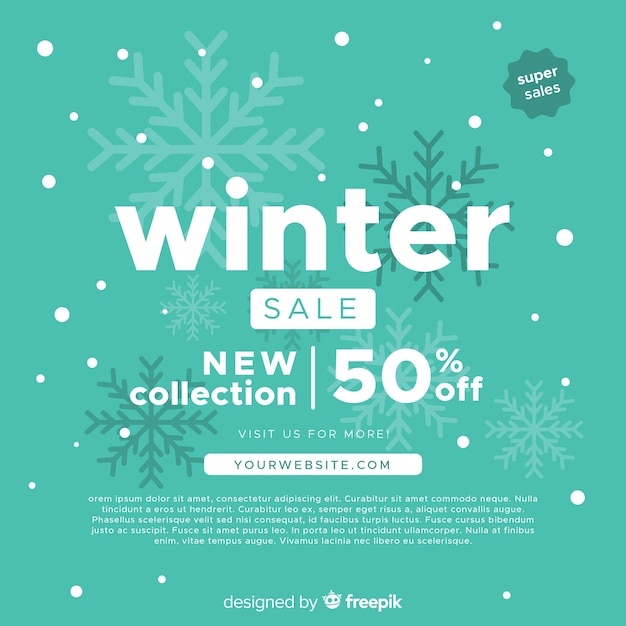 Winter sale background Free Vector