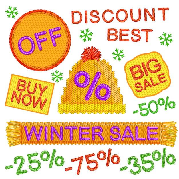 Set di distintivi di vendita invernale Vettore gratuito