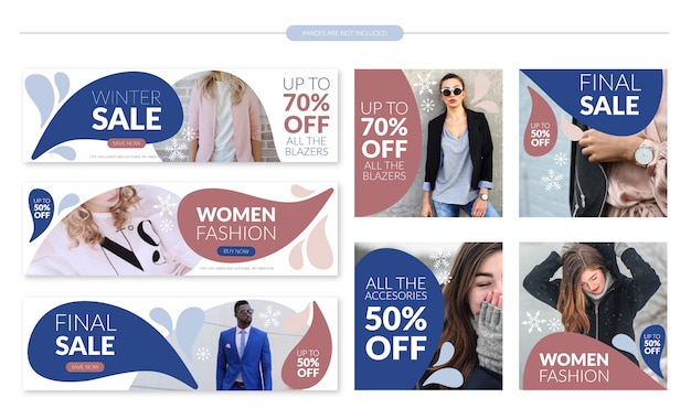 Winter sale banner template set Premium Vector