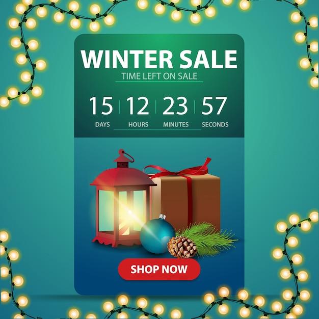 Winter sale banner with countdown Premium Vector