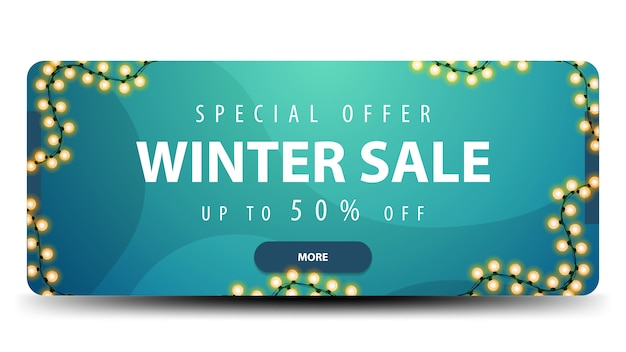 Winter sale banner with light garland Premium Vector
