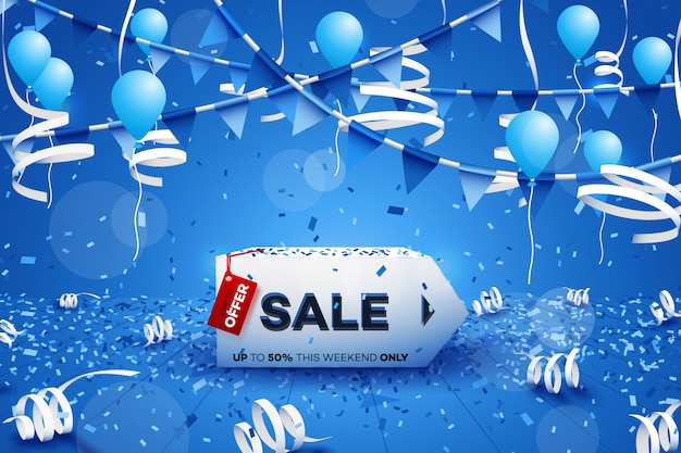 Winter sale banner. Premium Vector