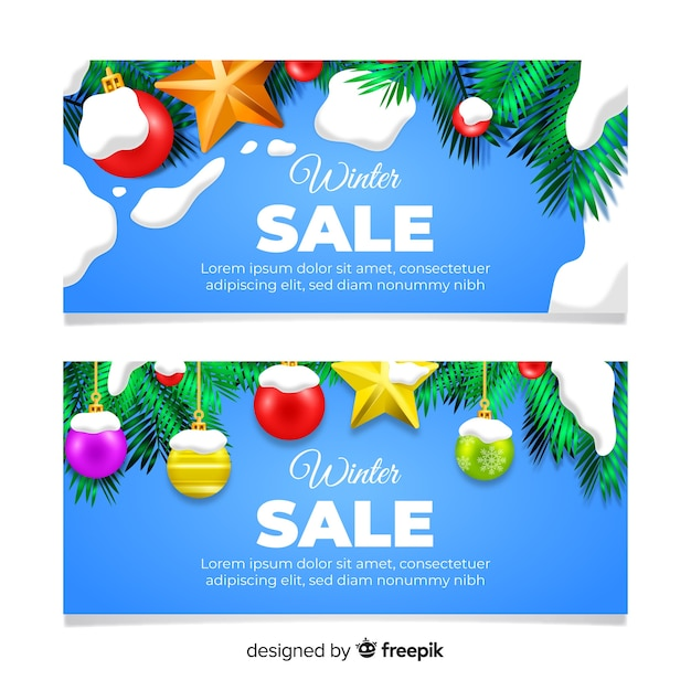 Winter sale banners collection Free Vector