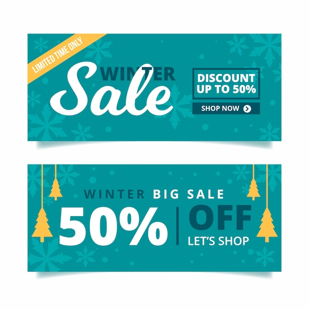 Winter sale banners in flat design Free Vector