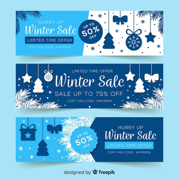 Winter sale banners Free Vector