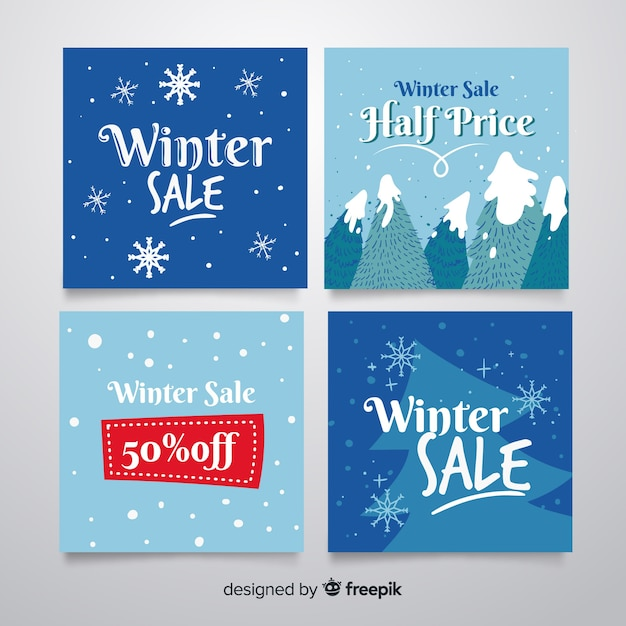 Winter sale card collection Free Vector