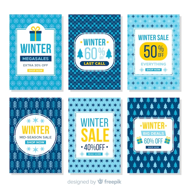Winter sale cards set Free Vector