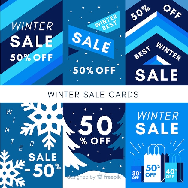 Winter sale cards Free Vector
