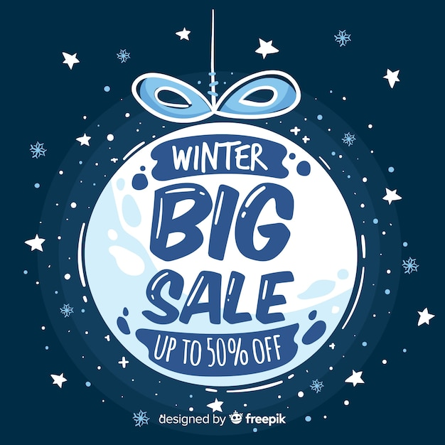 Winter sale cold tones ball background Free Vector