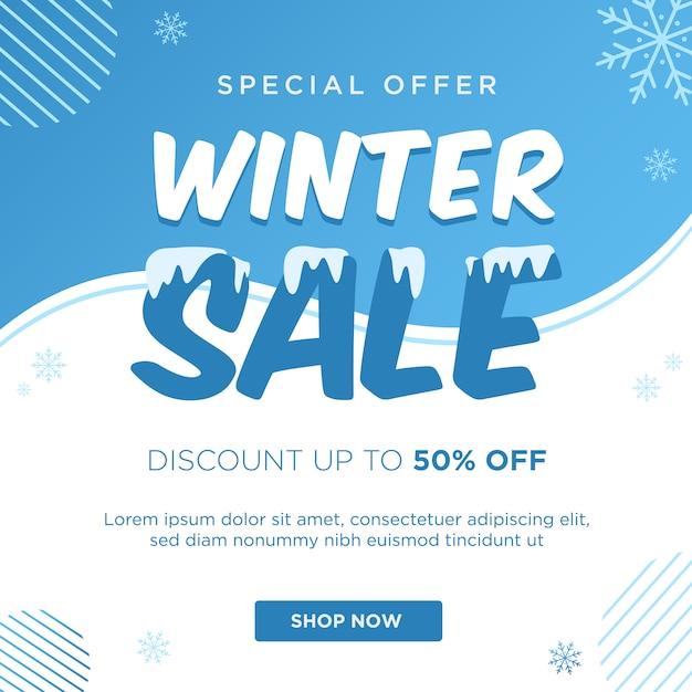 Winter sale discount banner template Premium Vector