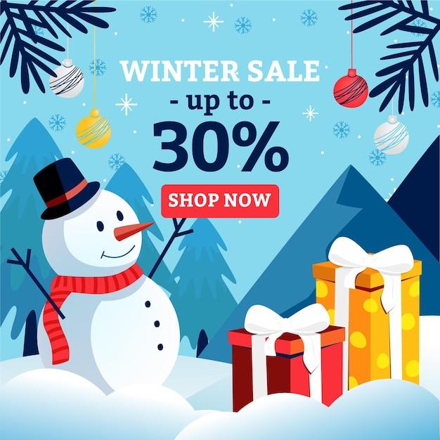 Sconto saldi invernali con pupazzo di neve illustrato Vettore gratuito