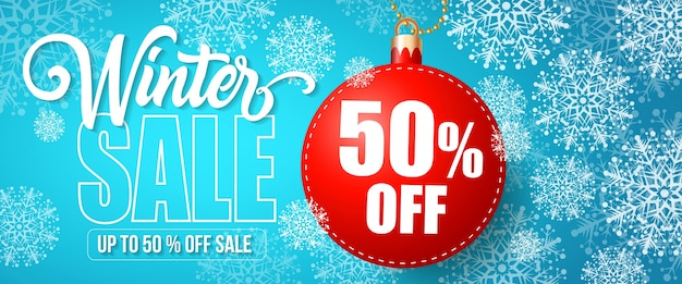Winter sale fifty percent off lettering Free Vector