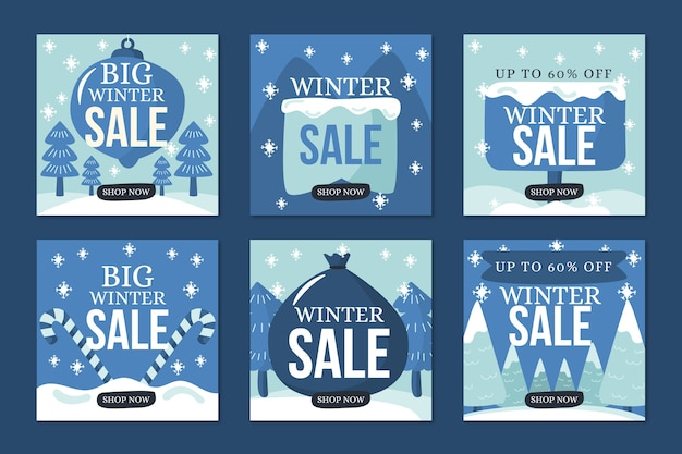 Winter sale instagram post collection in blue snowy shades Free Vector