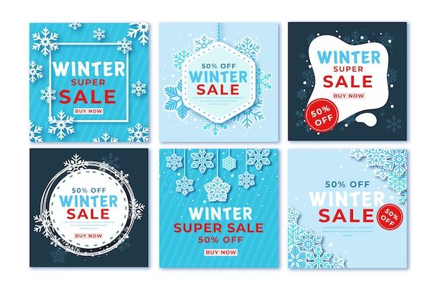 Winter sale instagram post pack Free Vector