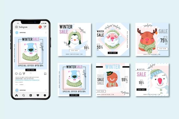 Winter sale instagram post pack Premium Vector