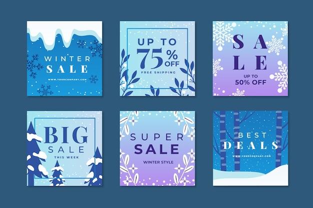 Set di post di instagram di vendita invernale Vettore gratuito
