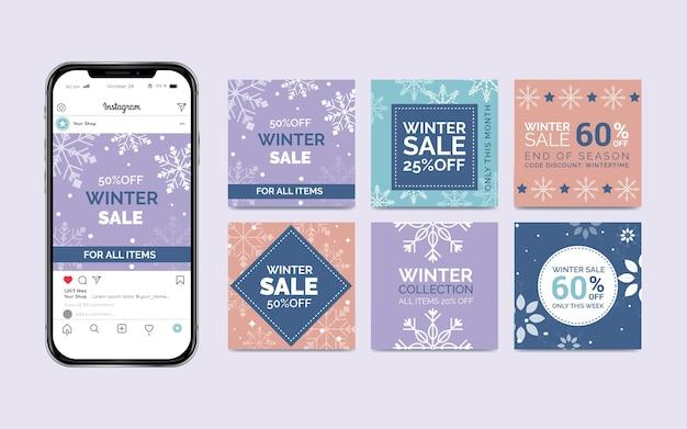 冬のセールのinstagramの投稿 Premiumベクター