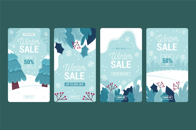 Winter sale instagram stories Premium Vector