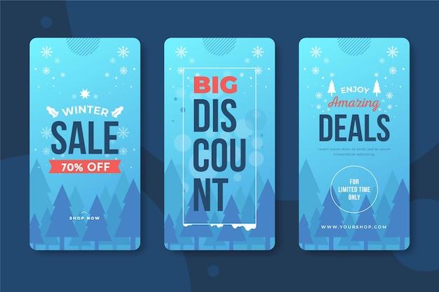 Winter sale instagram stories Free Vector