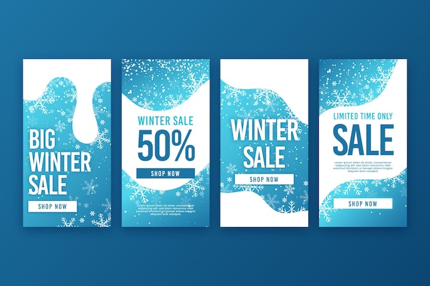Winter sale instagram story collection Free Vector