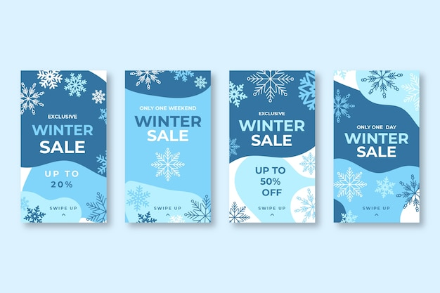 Winter sale instagram story set Free Vector